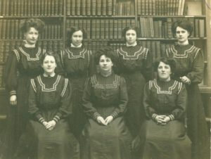 Photograph of Marian Frost and the staff of Worthing Museum and Library